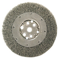 Anderson Brush DM Series Narrow Face Crimped Wire Wheels | Narrow Face Crimped Wire Wheel-DM Series, 3 D x 3/8 W, .006 Stainless, 6,000 rpm