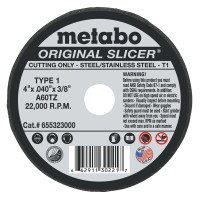 Metabo Original Slicer Cutting Wheels | Slicer Cutting Wheel, 4 in Dia, .04 in Thick, A 60 TZ Grit, Alum. Oxide