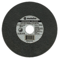 Metabo Original Slicer Cutting Wheels | Slicer Cutting Wheel, Type 1, 5 in Dia, 0.04 in Thick, 60 Grit,  Alum Oxide