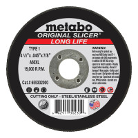 Metabo Original Slicer Cutting Wheels | Slicer Cutting Wheel, Type 1, 4 1/2 in Dia, 1/16 in Thick, 36 Grit Alum. Oxide