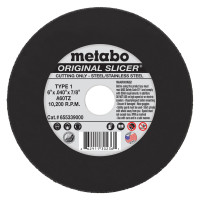 Metabo Original Slicer Cutting Wheels | Slicer Cutting Wheel, Type 1, 6 in Dia, .04 in Thick, 60 Grit Aluminum Oxide