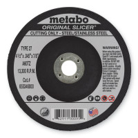 Metabo Original Slicer Cutting Wheels | Slicer Cutting Wheel, 4 1/2 in Dia, .045 in Thick, 60 Grit Alum. Oxide