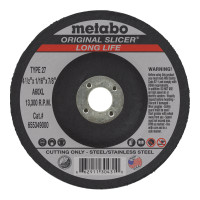 Metabo Original Slicer Cutting Wheels | Slicer Cutting Wheel, Type 27, 4 1/2 in Dia, 1/16 in Thick, 36 Grit Alum. Oxide