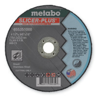 Metabo Slicer Plus High Performance Cutting Wheels | Slicer Plus Cutting Wheel, Type 27, 4 1/2 in Dia, .045 in Thick, 60 Grit