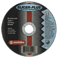 Metabo Slicer Plus High Performance Cutting Wheels | Slicer Plus Cutting Wheel, Type 1, 4 1/2 in Dia, .045 in Thick, 60 Grit