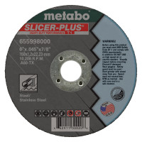 Metabo Slicer Plus High Performance Cutting Wheels | Slicer Plus Cutting Wheel, Type 1, 6 in Dia, .045 in Thick, 60 Grit Alum. Oxide