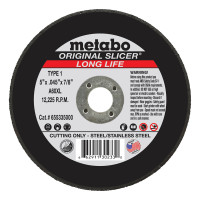 Metabo Original Slicer Cutting Wheels | Slicer Cutting Wheel, Type 1, 5 in Dia, 0.045 in Thick, 60 Grit, Alum Oxide