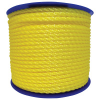 Monofilament Twisted Poly Ropes, 2,168 lb Cap., 600 ft, Polypropylene, Yellow