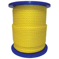 Monofilament Twisted Poly Ropes, 3,477 lb Cap., 600 ft, Polypropylene, Yellow