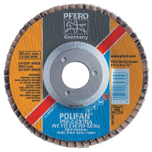 Pferd POLIFAN® PSF-EXTRA Flap Discs | POLIFAN PSF-EXTRA Flap Discs, 4 1/2 in, 36 Grit, 7/8 in Arbor, 13,300 rpm