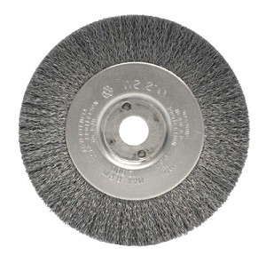 Weiler® Narrow Face Crimped Wire Wheels | Narrow Face Crimped Wire Wheel, 4 in D x 1/2 in W, .0118 in Steel, 6,000 rpm