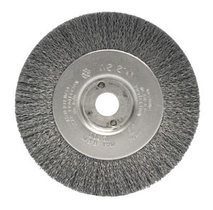 Weiler® Narrow Face Crimped Wire Wheels | Narrow Face Crimped Wire Wheel, 4 in D x 1/2 W, .006 Stainless Steel, 6,000 rpm