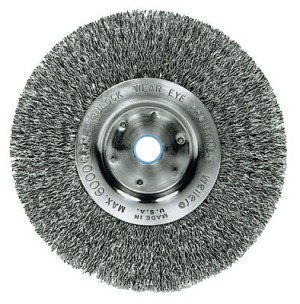 Weiler® Narrow Face Crimped Wire Wheels | Narrow Face Crimped Wire Wheel, 6 in D x 3/4 in W, .014 in Steel Wire, 6,000 rpm