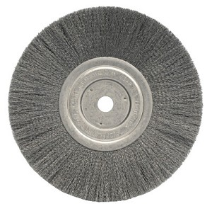 Weiler® Narrow Face Crimped Wire Wheels | Narrow Face Crimped Wire Wheel, 8 in D x 3/4 in W, .006 Steel Wire, 6,000 rpm
