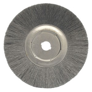 Weiler® Narrow Face Crimped Wire Wheels | Narrow Face Crimped Wire Wheel, 12 in D, .006 Steel, 1 1/4 in Arbor