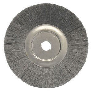 Weiler® Narrow Face Crimped Wire Wheels | Narrow Face Crimped Wire Wheel, 12 in D, .0118 Steel, 1 1/4 in Arbor