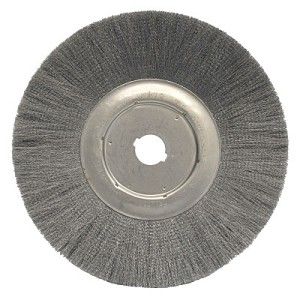 Weiler® Narrow Face Crimped Wire Wheels | Narrow Face Crimped Wire Wheel, 12 in D, .0104 Stainless Steel, 1-1/4 in Arbor