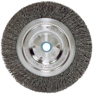 Weiler® Medium-Face Crimped Wire Wheels | Medium-Face Crimped Wire Wheel, 6 in D x 5/8 in W, .014 in Steel Wire, 6,000 rpm