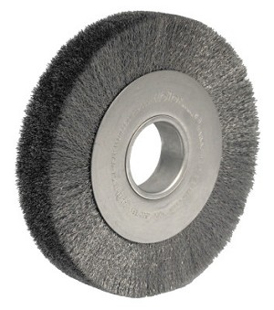 Weiler® Wide-Face Crimped Wire Wheels | Wide-Face Crimped Wire Wheel, 8 in Dia. x 1 1/2 in W, 0.0147 in Steel, 4,500 rpm