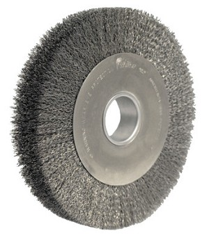Weiler® Wide-Face Crimped Wire Wheels | Wide-Face Crimped Wire Wheel, 10 in Dia. x 1 5/8 in W, 0.0118 in Wire, 4,000 rpm
