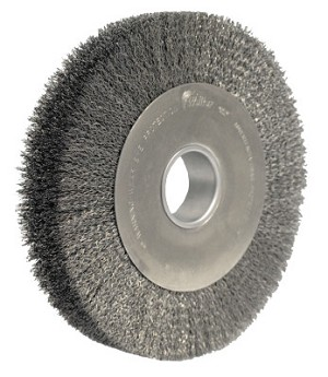 Weiler® Wide-Face Crimped Wire Wheels | Wide-Face Crimped Wire Wheel, 10 in Dia. x 1 5/8 in W, 0.014 in Steel, 4,000 rpm