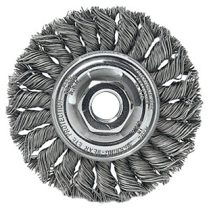 Weiler® Standard Twist Knot Wire Wheels | Standard Twist Knot Wire Wheel, 4 in D x 1/2 in W, .0118 in Steel, 1/4 in Stem