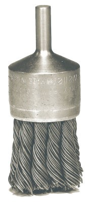 Weiler® Knot Wire End Brushes | Hollow-End Knot Wire End Brush, Stainless Steel, 22,000 rpm, 1 1/8
