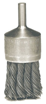 Weiler® Knot Wire End Brushes | Hollow-End Knot Wire End Brush, Steel, 20,000 rpm, 1 1/8