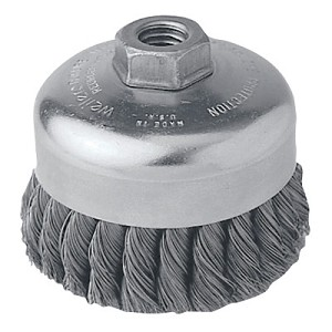 Weiler® Single Row Heavy-Duty Knot Wire Cup Brushes | Single Row Heavy-Duty Knot Wire Cup Brush, 4 in Dia., Cable Twist, .023 Steel