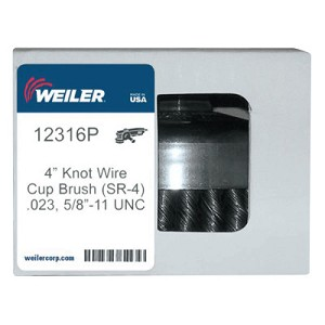 Weiler® Single Row Heavy-Duty Knot Wire Cup Brushes | Single Row Heavy-Duty Knot Cup Brush, 4 in Dia., 5/8-11, .023 Wire, Display Pack