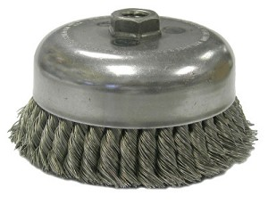 Weiler® Single Row Heavy-Duty Knot Wire Cup Brushes | Single Row Heavy-Duty Knot Wire Cup Brush, 3 1/2 in Dia., M14 x 2, .023 Steel