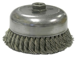 Weiler® Double Row Heavy-Duty Knot Wire Cup Brushes | Heavy-Duty Knot Wire Cup Brush, 6 in Dia., 5/8-11 UNC Arbor, .023 in Stainless