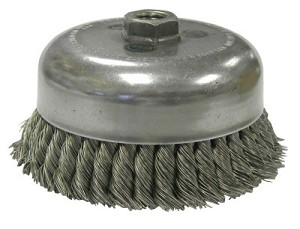 Weiler® Double Row Heavy-Duty Knot Wire Cup Brushes | Heavy-Duty Knot Wire Cup Brush, 6 in Dia., 5/8-11 UNC Arbor, 1.5 x .014 Wire