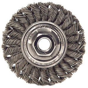 Weiler® Standard Twist Knot Wire Wheels | Standard Twist Knot Wire Wheel, 4 in D, .014 in Stainless Steel, M14 x 2.0 Nut