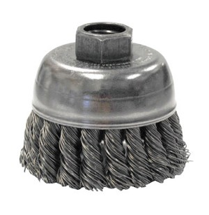 Weiler® Single Row Heavy-Duty Knot Wire Cup Brushes | Single Row Heavy-Duty Knot Wire Cup Brush, 2 3/4 in Dia., M10 x 1.25, .02 Steel