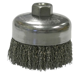 Weiler® Crimped Wire Cup Brushes | Crimped Wire Cup Brush, 4 in Dia., 5/8-11 UNC Arbor, .014 in Steel Wire