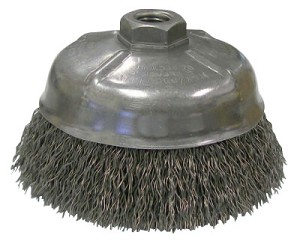 Weiler® Crimped Wire Cup Brushes | Crimped Wire Cup Brush, 5 in Dia., 5/8-11 UNC Arbor, .014 Steel Wire