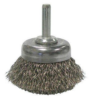 Weiler® Stem-Mounted Crimped Wire Cup Brushes | Stem-Mounted Crimped Wire Cup Brush, 1 3/4 in Dia., .0118 in Stainless Steel