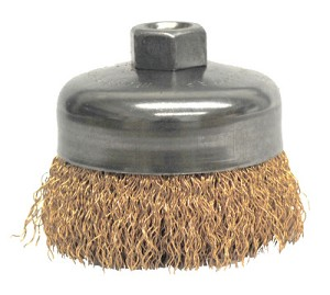 Weiler® Crimped Wire Cup Brushes | Crimped Wire Cup Brush, 4 in Dia., 5/8-11 UNC Arbor, Bronze Wire