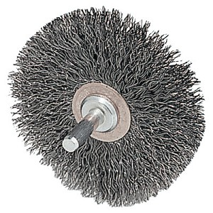Weiler® Stem-Mounted Narrow Conflex Brushes | Stem-Mounted Narrow Conflex Brush, 3 in D x 1/2 in W, .008 in Steel, Retail Pack