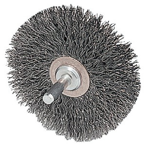 Weiler® Stem-Mounted Narrow Conflex Brushes | Stem-Mounted Narrow Conflex Brush, 2 D x 3/8 W, .0118 Stainless, 20,000 rpm