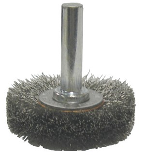 Weiler® Crimped Wire Radial Wheel Brushes | Crimped Wire Radial Wheel Brush, 1 1/2 in D, .014 in Steel Wire, 20,000 rpm