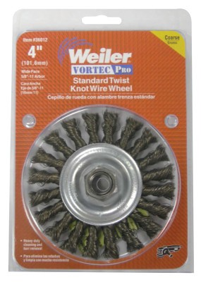 Weiler® Vortec Pro® Knot Wire Wheels | Vortec Pro Knot Wire Wheel, 4 in Dia, .014 Carbon Steel, 5/8-11 Arbor, Retail Pk