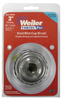 Weiler® Vortec Pro® Knot Wire Cup Brushes | Vortec Pro Knot Wire Cup Brush, 3 in Dia., 5/8-11 Arbor, .02 Carbon Steel Wire