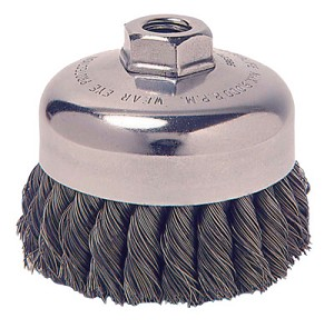 Weiler® Vortec Pro® Knot Wire Cup Brushes | Vortec Pro Knot Wire Cup Brush, 4 in Dia., 5/8-11, .025 in Steel, Display Pack