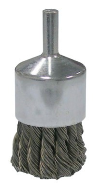 Weiler® Vortec Pro® Stem Mounted Knot Wire End Brushes | Vortec Pro Stem Mtd Knot Wire End Brushes, Carbon Steel, 1 in Dia, .02 Wire