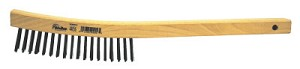 Weiler® Curved Handle Scratch Brushes | Curved Handle Scratch Brushes, 14 in, 4 X 18 Rows, Steel Wire, Wood Handle