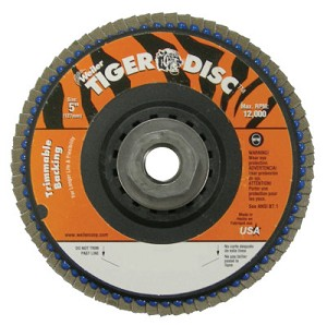Weiler® Trimmable Tiger® Flap Discs | Trimmable Tiger Flap Discs, 5 in, 80 Grit, 5/8 Arbor, 12,000 rpm
