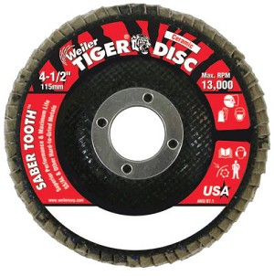 Weiler® Saber Tooth™ Ceramic Flap Discs | Saber Tooth Ceramic Flap Discs, 4 1/2 in, 60 Grit, 7/8 in Arbor, 13,000 rpm