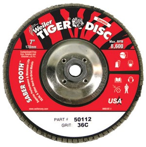 Weiler® Saber Tooth™ Ceramic Flap Discs | Saber Tooth Ceramic Flap Discs, 7 in, 36 Grit, 5/8 Arbor, 12,000 rpm